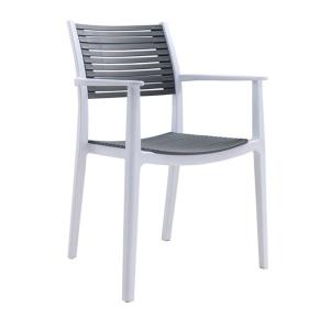 AKRON Πολυθρόνα PP-UV Άσπρο/Γκρι
