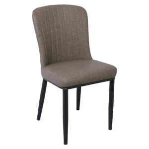 NEWTON Καρέκλα Μεταλλική Βαφή Μαύρη/Linen Pu Καφέ
