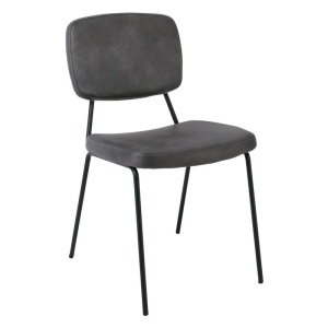 POP Καρέκλα Μεταλλική Μαύρη/Pu Αν.Γκρι