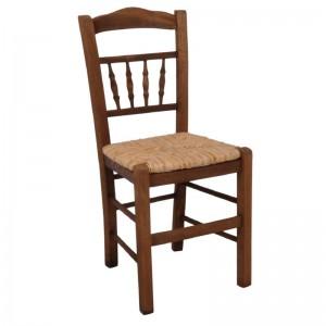 ΑΝΤΙΚΑ Καρέκλα Ψάθα Εμποτ.Καρυδί