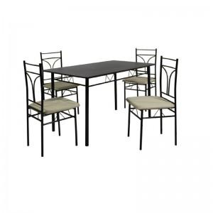 CORADO Set (Τραπ.120x70cm+4 Καρέκ) Μεταλ.Μαύρο/MDF Wenge (Ύφ.Εκρού)