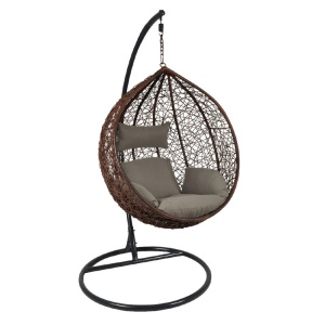 ISABEL Κρεμαστή Πολυθρόνα Γκρι Σκούρο/Καφέ/Μαξιλάρι Καφέ