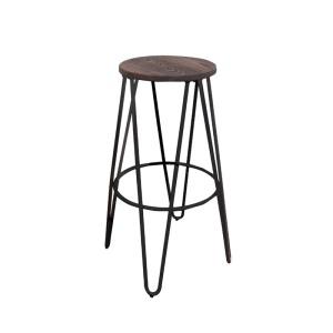ARCO Wood Dark Oak Σκαμπώ Bar H.67cm Antique Black
