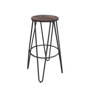 ARCO Wood Dark Oak Σκαμπώ Bar H.67cm Μεταλ.Μαύρο