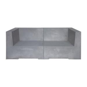 CONCRETE Καναπές 2-θ Cement Grey 160x83x65cm