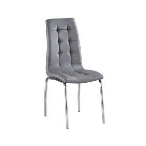 MELVA Καρέκλα Χρώμιο/Pu Γκρι