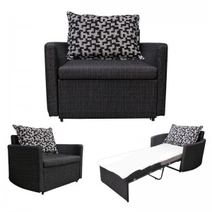 ADAMS Πολυθρόνα-Κρεβάτι Ύφασμα Μαύρο