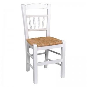 ΑΝΤΙΚΑ Καρέκλα Ψάθα Εμποτ.Λάκα Άσπρο