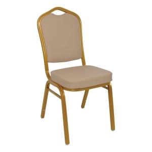HILTON Καρέκλα Μεταλλική Gold/Pu Cappuccino