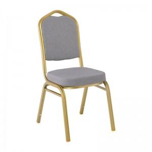 HILTON Καρέκλα Μεταλλική Yellow Gold/Ύφασμα Γκρι