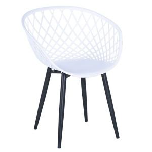 REX Πολυθρόνα Μεταλλική Μαύρη/PP-UV Άσπρο