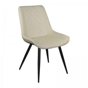 MORGAN Καρέκλα Μεταλλική Βαφή Μαύρη/Pu Μπεζ