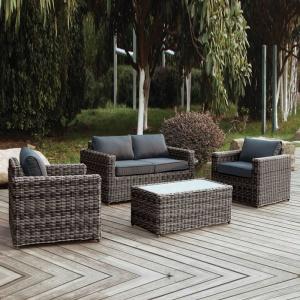 ARIZONA Set Σαλόνι 2θέσιου 4mmHalfRound Wicker Grey/Brown Σετ Κήπου Βεράντας