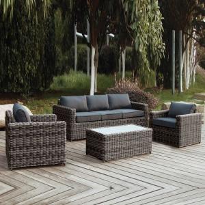 ARIZONA Set Σαλόνι 3θέσιου 4mmHalfRound Wicker Grey/Brown Σετ Κήπου Βεράντας