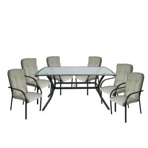ASTOR Set Τραπεζαρία Κήπου Steel Ανθρακί- Γυαλί- Μαξιλάρι Μπεζ : Τραπέζι + 6 Πολυθρόνες