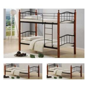 BUTTON κρεβάτι κουκέτα Μέταλλο μαύρο/Ξύλο καρυδί