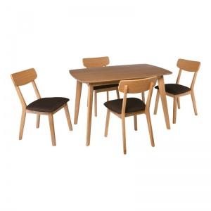 CALVIN Set Τραπεζαρία Dining Φυσικό / Ύφασμα Σκούρο Καφέ : Τραπέζι 150x90cm + 4 Καρέκλες