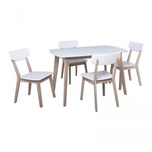 CALVIN Set Τραπεζαρία Dining White Wash / Άσπρο : Τραπέζι 150x90cm + 4 Καρέκλες