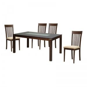 DIAMOND-CORINA Set Τραπεζαρία Σκούρο Καρυδί / Pvc Εκρού : Τραπέζι 150x90cm + 4 Καρέκλες
