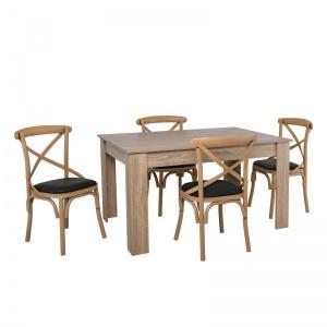 MARLIN-COMMON Set Τραπεζαρία : Τραπέζι 134x90cm Sonoma + 4 Καρέκλες Steel Φυσικό-PU Μαύρο