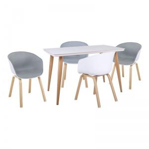 OPTIM Set Τραπεζαρία : Τραπέζι + 4 Πολυθρόνες Μέταλλο Φυσικό / PP Άσπρο Ύφασμα Γκρι