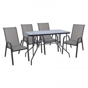 RIO Set Τραπεζαρία Dining Κήπου : Τραπέζι + 4 Πολυθρόνες Μέταλλο Γκρι - Textilene Γκρι