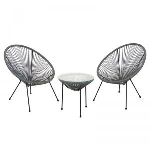 ACAPULCO Set Κήπου - Βεράντας: Τραπέζι + 2 Πολυθρόνες Μέταλλο Μαύρo / Rattan Γκρι