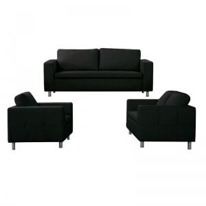 ALAMO Set Σαλόνι - Καθιστικό : Πολυθρόνα + Καναπές 2Θέσιος + Καναπές 3Θέσιος - PU Μαύρο