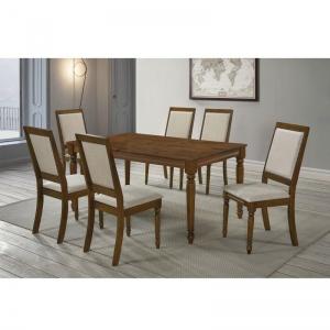 BARCO Set Τραπεζαρία Σαλονιού: Τραπέζι + 6 Καρέκλες / Ξύλο Ανοιχτό Καρυδί - Ύφασμα Μπεζ